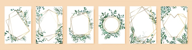 Marcos de hojas verdes. invitaciones de boda de primavera, ramas florales bordes geométricos de oro. conjunto de símbolos de elegantes marcos florales. cartel y pancarta con ilustración floral de marco de ramo
