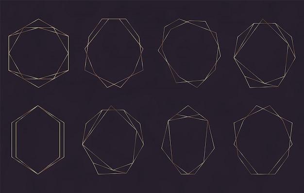 Marcos de líneas poligonales geométricas doradas.