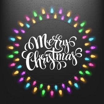 Marcos de luces navideñas con tarjeta de felicitación