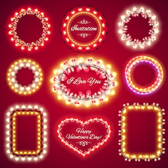 Marcos de luces de san valentín con un espacio de copia set1
