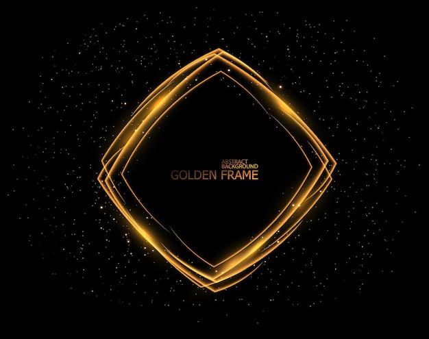 Marcos de luz dorada establecen teements de efecto de luz de flash aislados en negro
