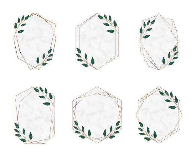 Marcos de mármol poligonales geométricos dorados con hojas botánicas. elementos de diseño de lujo