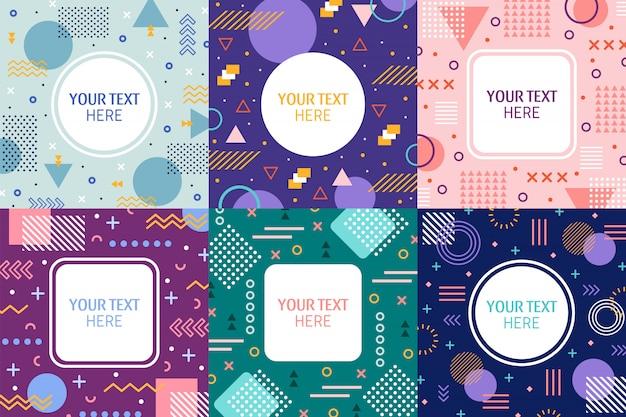 Marcos de memphis, banner abstracto de estilo retro de los 90, patrón de portada de moda colorida y fondo de plantilla de invitaciones