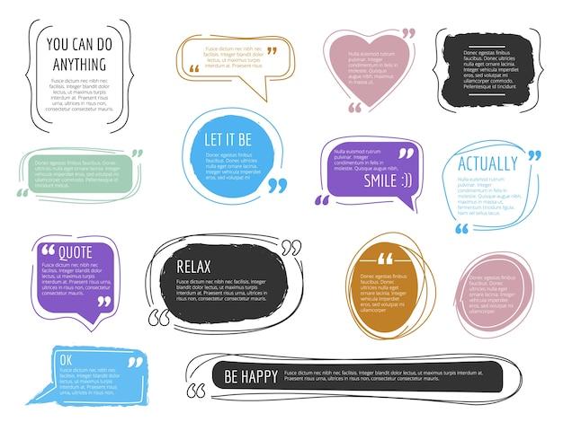 Marcos de mensaje. cuadros de cotización plantillas de diseño colorido bloque creativo moderno para etiquetas de moda de texto. citar la marca del blog, citando la ilustración del mensaje adhesivo