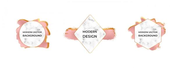 Marcos modernos con textura de mármol en la textura de trazo de pincel de lámina de oro rosa.