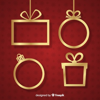 Marcos navidad dorados colgando