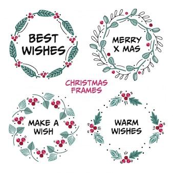 Marcos navideños ambientados con los mejores deseos. marcos florales