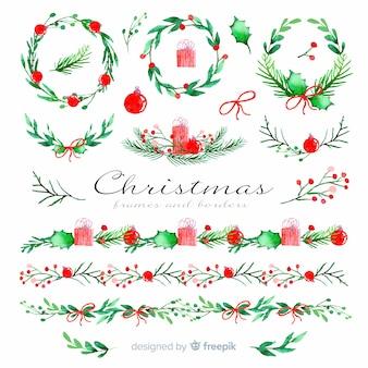 Marcos navideños y bordes en acuarela
