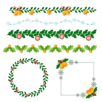 Marcos navideños y bordes en diseño plano