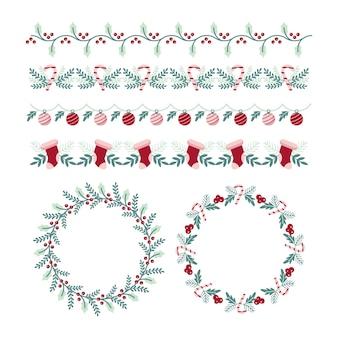 Marcos navideños y bordes en diseño plano.