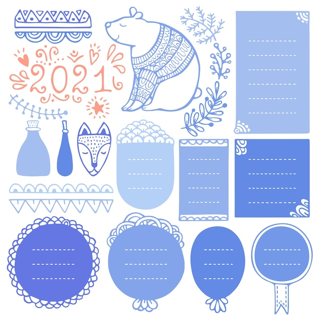 Marcos navideños dibujados a mano y elementos para diario de bala, cuaderno, agenda o planificador.
