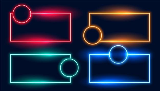 Marcos de neón en cuatro colores.