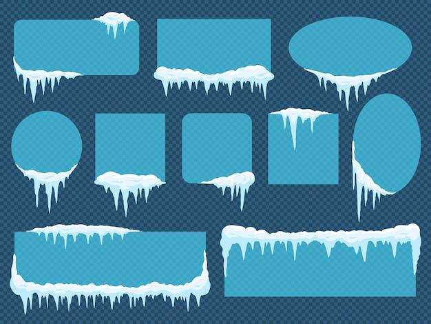 Marcos con nieve y hielo.