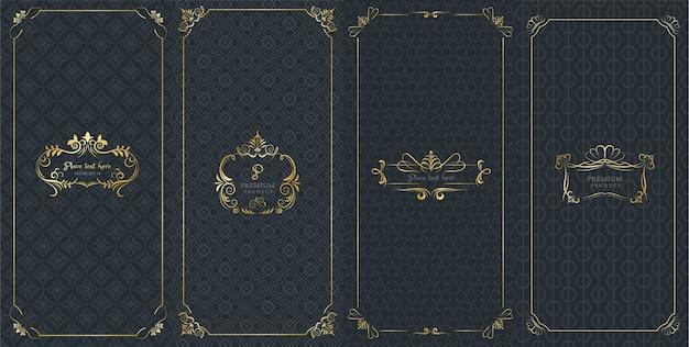 Marcos ornamentados y logotipos de lujo para embalaje