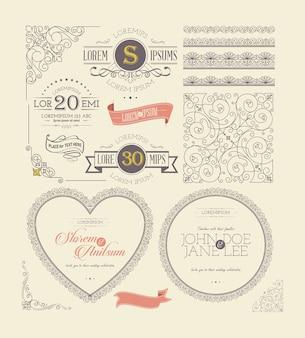Marcos ornamentados vintage etiquetas y elementos de encaje