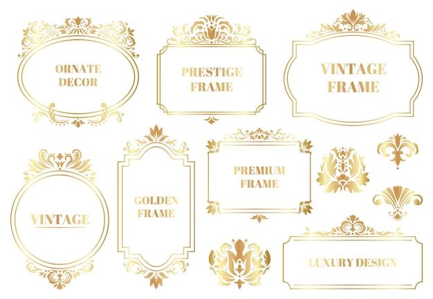 Marcos ornamentales de damasco. conjunto aislado de marcos de borde dorado floral barroco antiguo