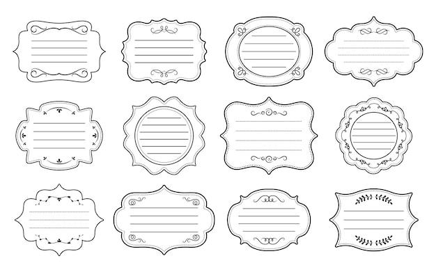 Marcos ornamentales de etiqueta para texto. elegante pegatina real adornada. colección decorativa vintage marco vacío. divisor retro antiguo, rizo y remolino caligráfico. ilustración aislada