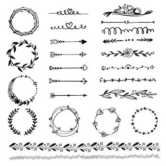 Marcos ornamentales y flechas colección dibujada a mano