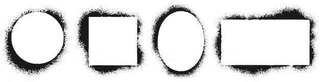 Marcos de plantilla grunge. marco pintado con spray, textura de salpicaduras de tinta y conjunto de ilustraciones de vector de borde de plantillas