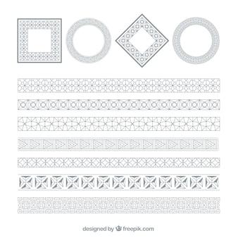 Marcos plateados redondos y cuadrados
