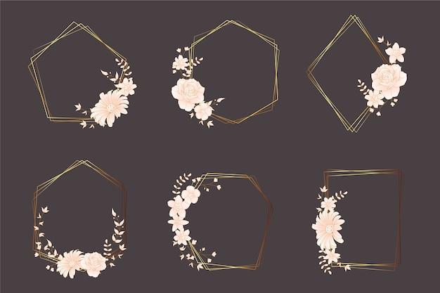 Marcos poligonales dorados con elegante colección de flores.