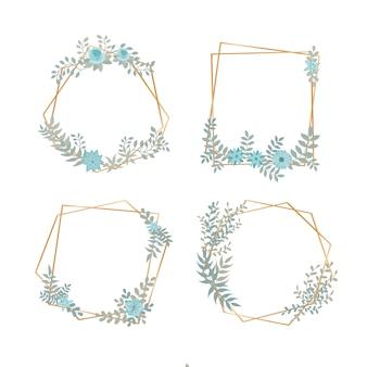 Marcos poligonales dorados con flores elegantes.