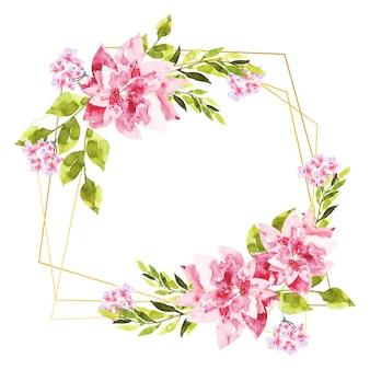 Marcos poligonales dorados con flores rosas