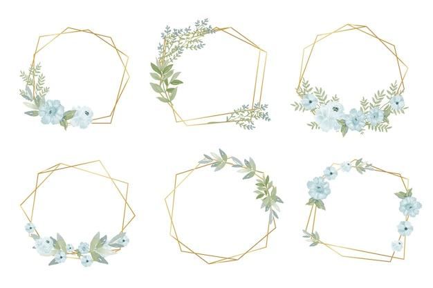 Marcos poligonales dorados con flores.