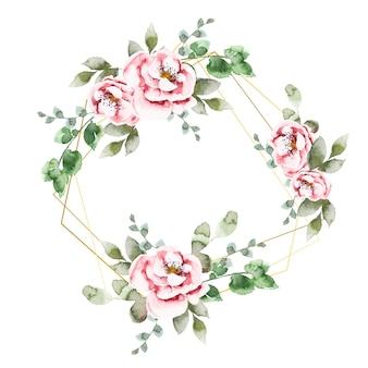 Marcos poligonales con flores elegantes.
