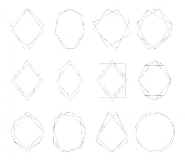 Marcos poligonales geométricos dorados. bordes de lineas decorativas