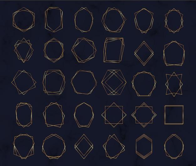Marcos poligonales geométricos dorados. bordes de líneas decorativas.