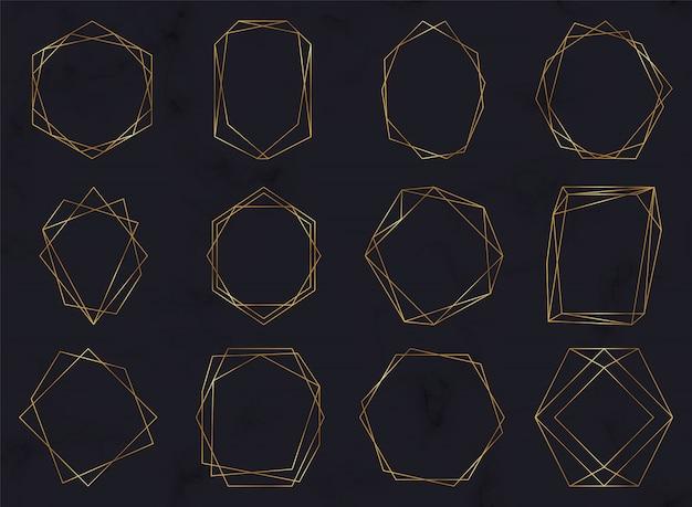 Marcos poligonales geométricos dorados.