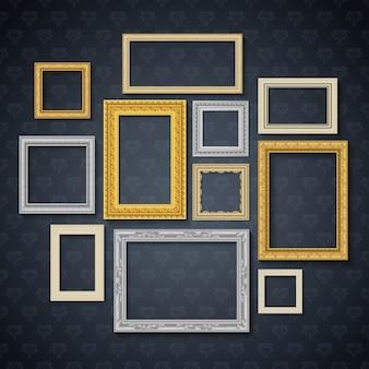 Los marcos realistas tradicionales del vintage fijados en la pared oscura aislaron el ejemplo del vector