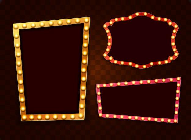 Marcos retro luz vintage con bombillas