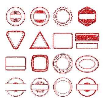 Marcos de sellos de goma. grunge rascarse post tampón insignia sello plantillas de vectores aislados