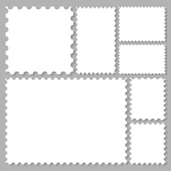 Marcos de sellos postales establecidos para etiquetas, adhesivos, aplicaciones, sellos postales y fondos de escritorio.
