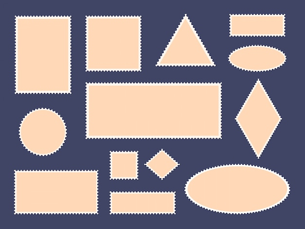 Marcos de sellos postales. frontera de sellos postales, postales de papel vacías y marcos de sellos de la oficina de correo, conjunto de iconos de tarjetas filatélicas. sobre postal en blanco cuadrado, colección de pegatinas redondas