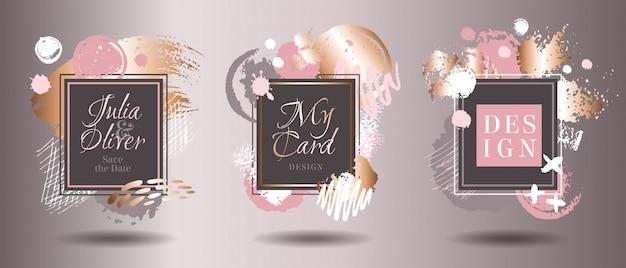 Marcos de tarjeta de trazos de pincel de oro rosa. dibujo de garabatos, textura grunge