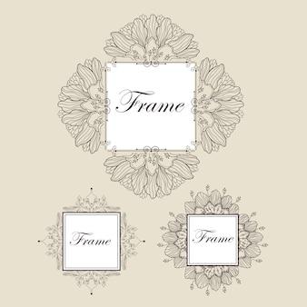 Marcos de texto de la vendimia. conjunto de marcos ornamentales.