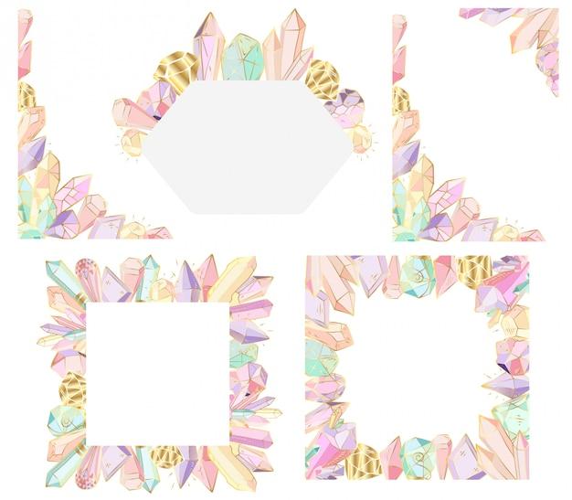Marcos vectoriales con cristales y gemas, contorno dorado.