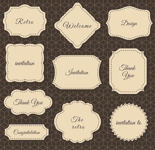Marcos de la vendimia. impresión sobre tela y papel.