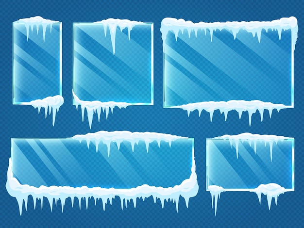 Marcos de vidrio con tapas de nieve.