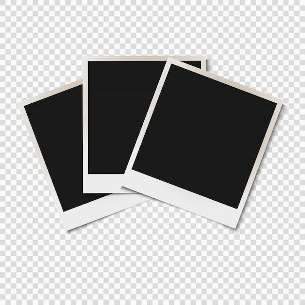 Marcos viejos en blanco de la foto aislados en fondo transparente