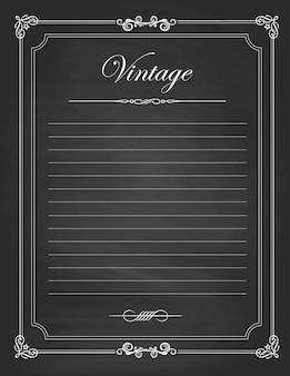 Marcos vintage, diseño de pizarra negra en blanco