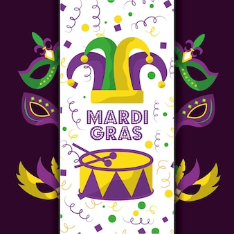Mardi gras bufón sombrero tarjeta felicitación tambor máscaras decoración