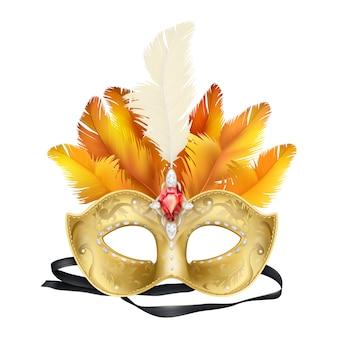 Mardi gras carnaval mascarilla realista