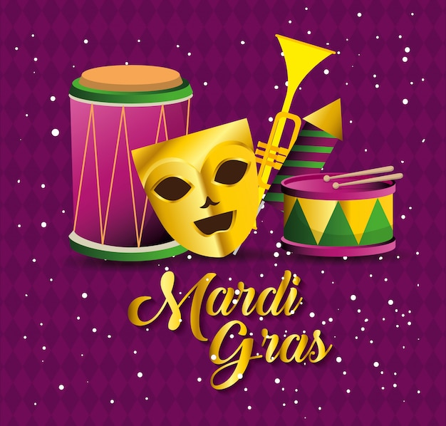 Mardi gras con máscara de fiesta e instrumentos.