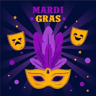 Mardi gras con máscaras en diseño plano