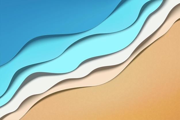 Mareas de ola de playa de verano de arte de papel en ilustración 3d