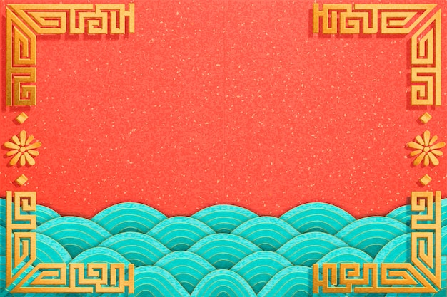 Mareas onduladas en estilo de arte de papel sobre fondo naranja con marco dorado
